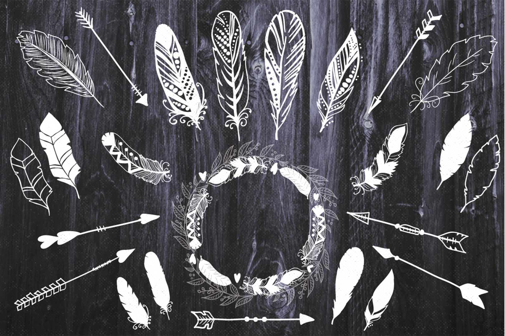 Feathers and arrows Clipart Set example image 3