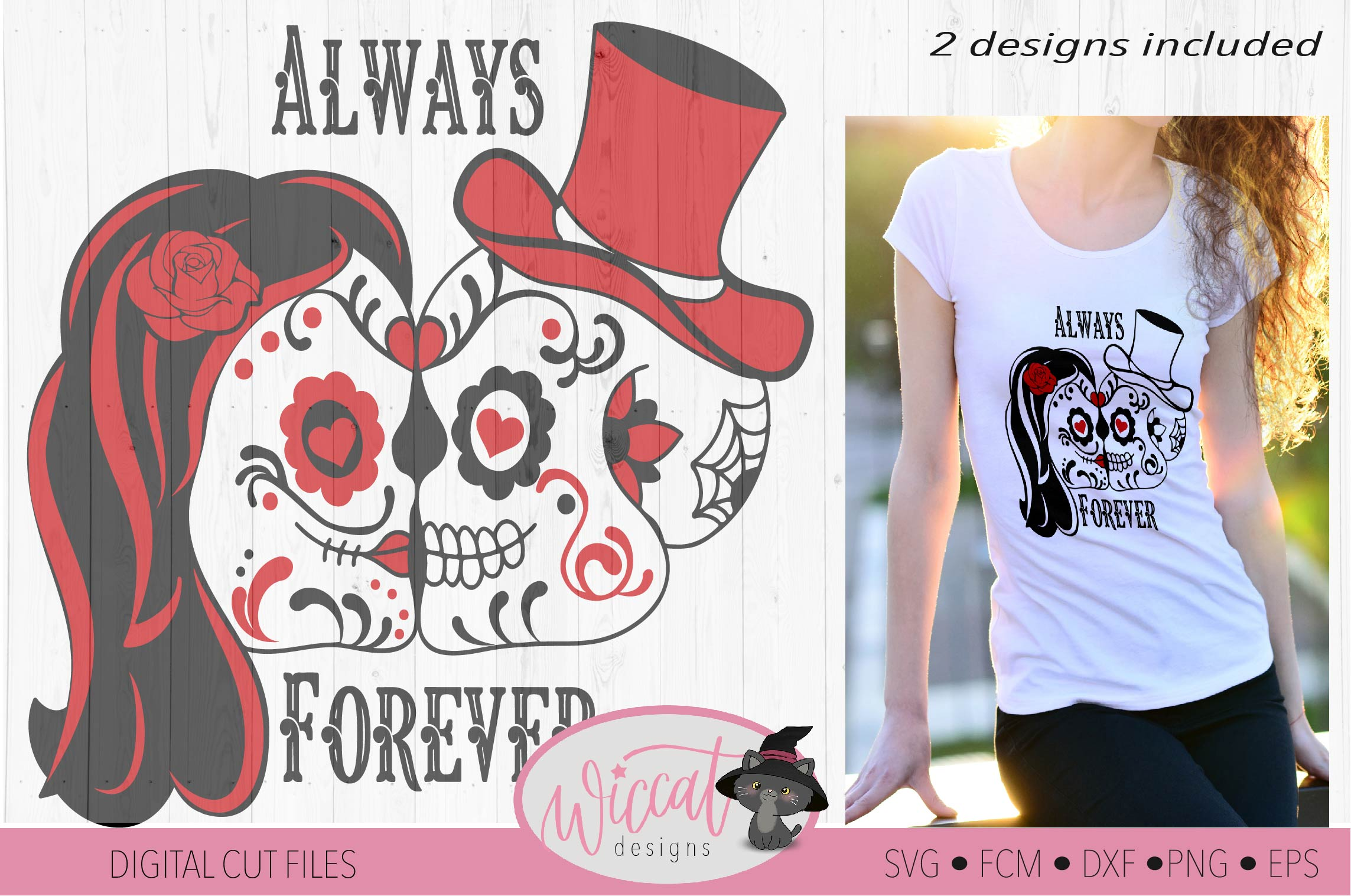 Sugar Skull valentine couple svg, forever and always example image 4