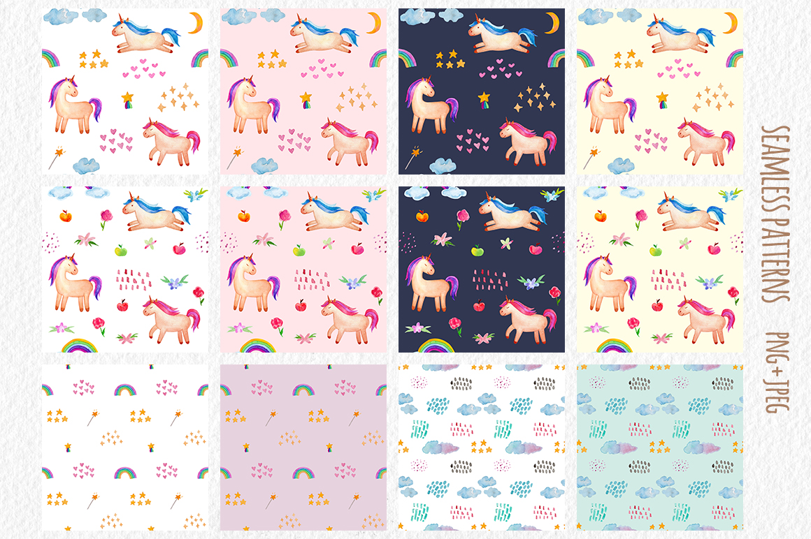 Watercolor Unicorn Set. Seamless Patterns, Clipart example image 6