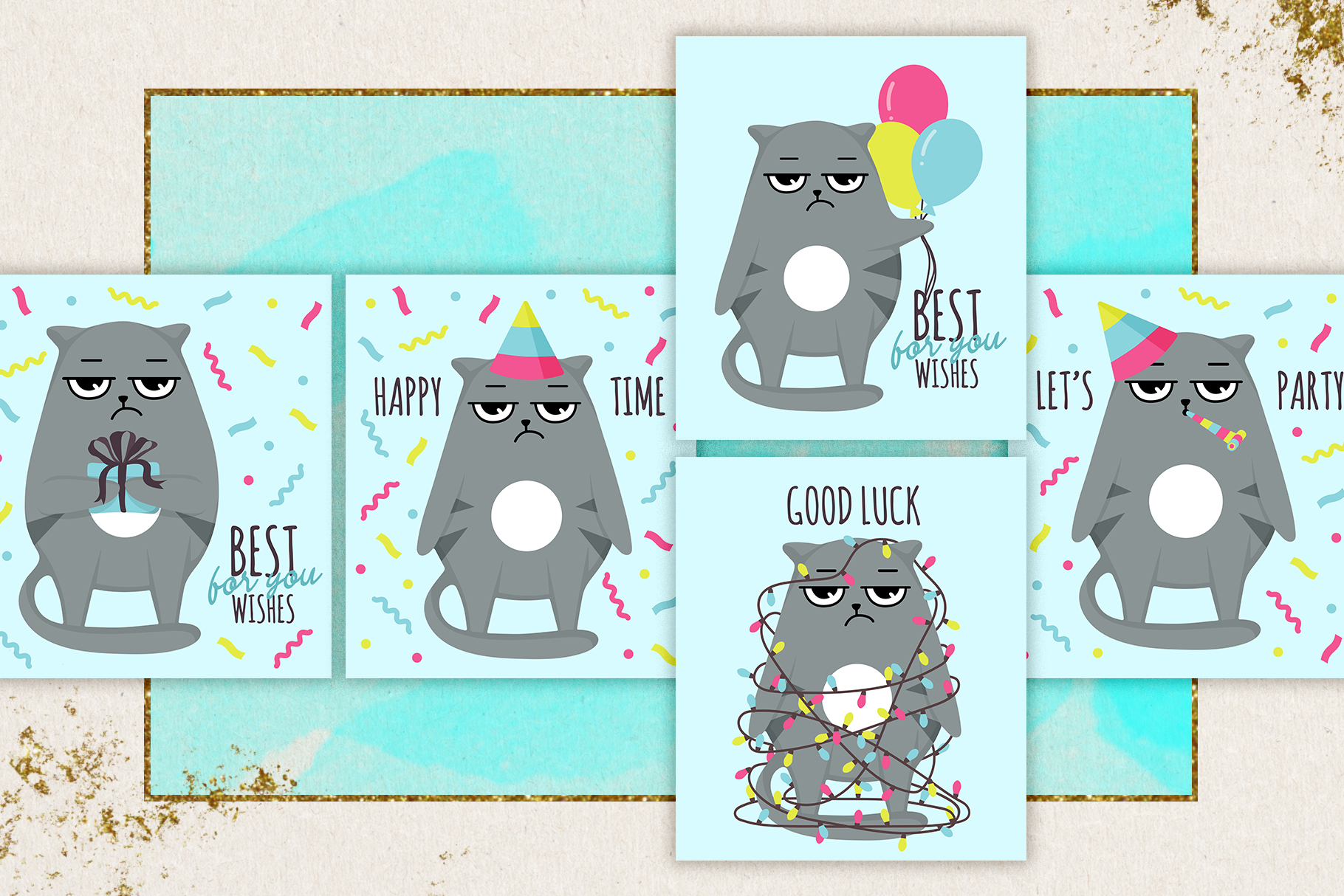 Grumpy cats vector collection example image 7
