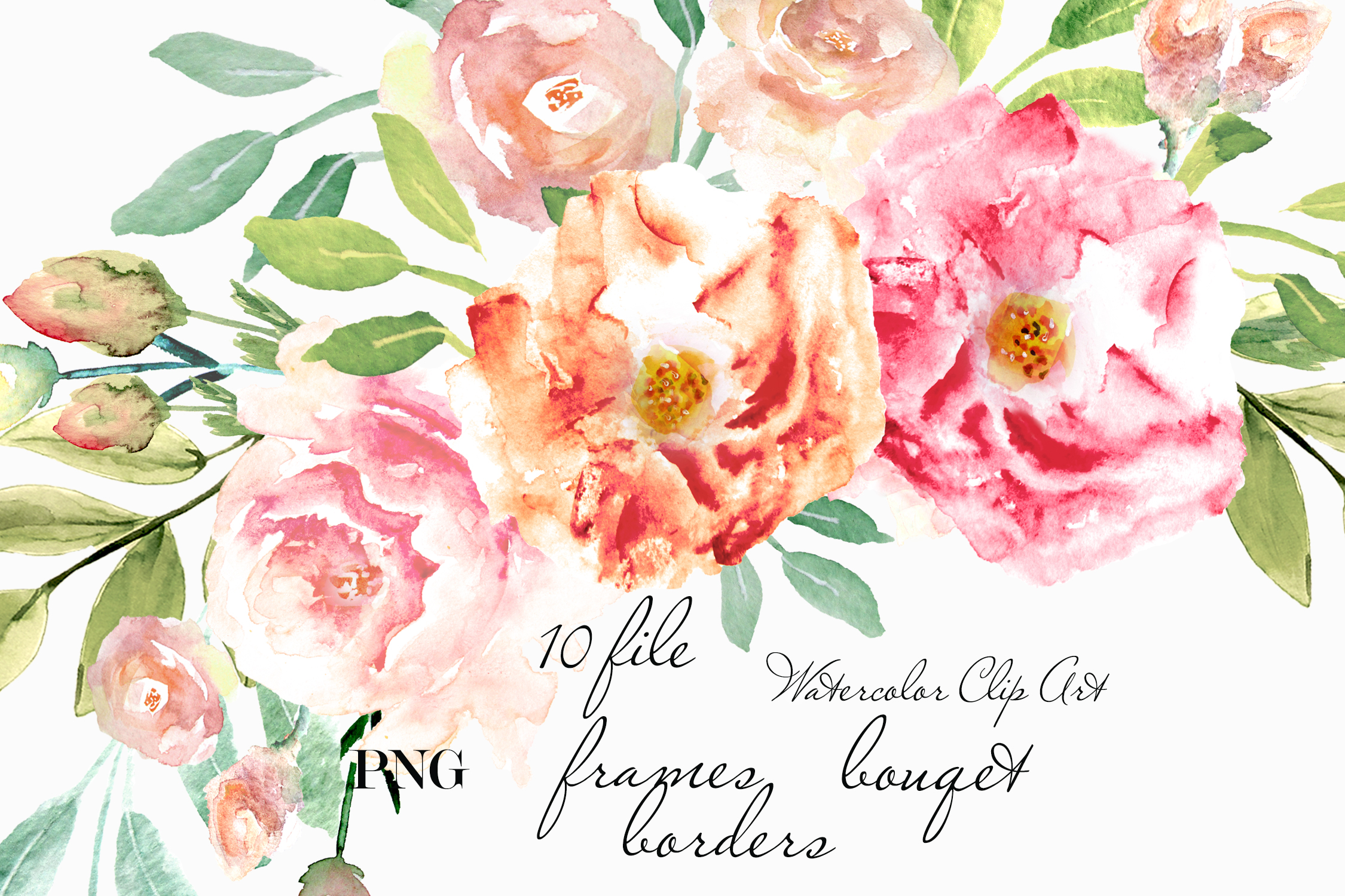 Floral Frame Clipart Watercolor Peach Flower Gold Frame