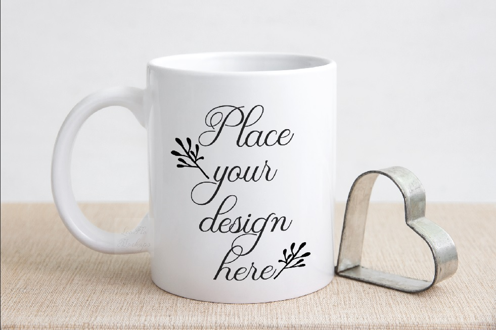 Valentine's white coffee mug mockup rustic sublimation mock example image 1