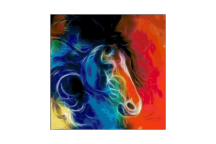 Fractal Horse Cross Stitch Pattern example image 1