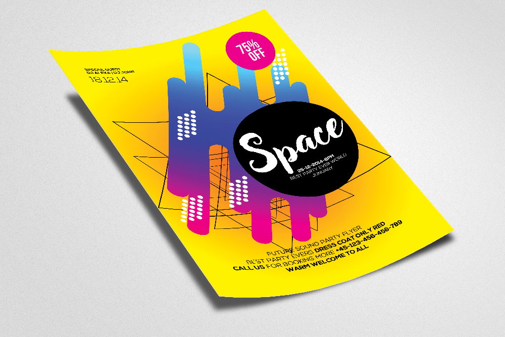 Space Futuristic Flyer/ Poster Template example image 2