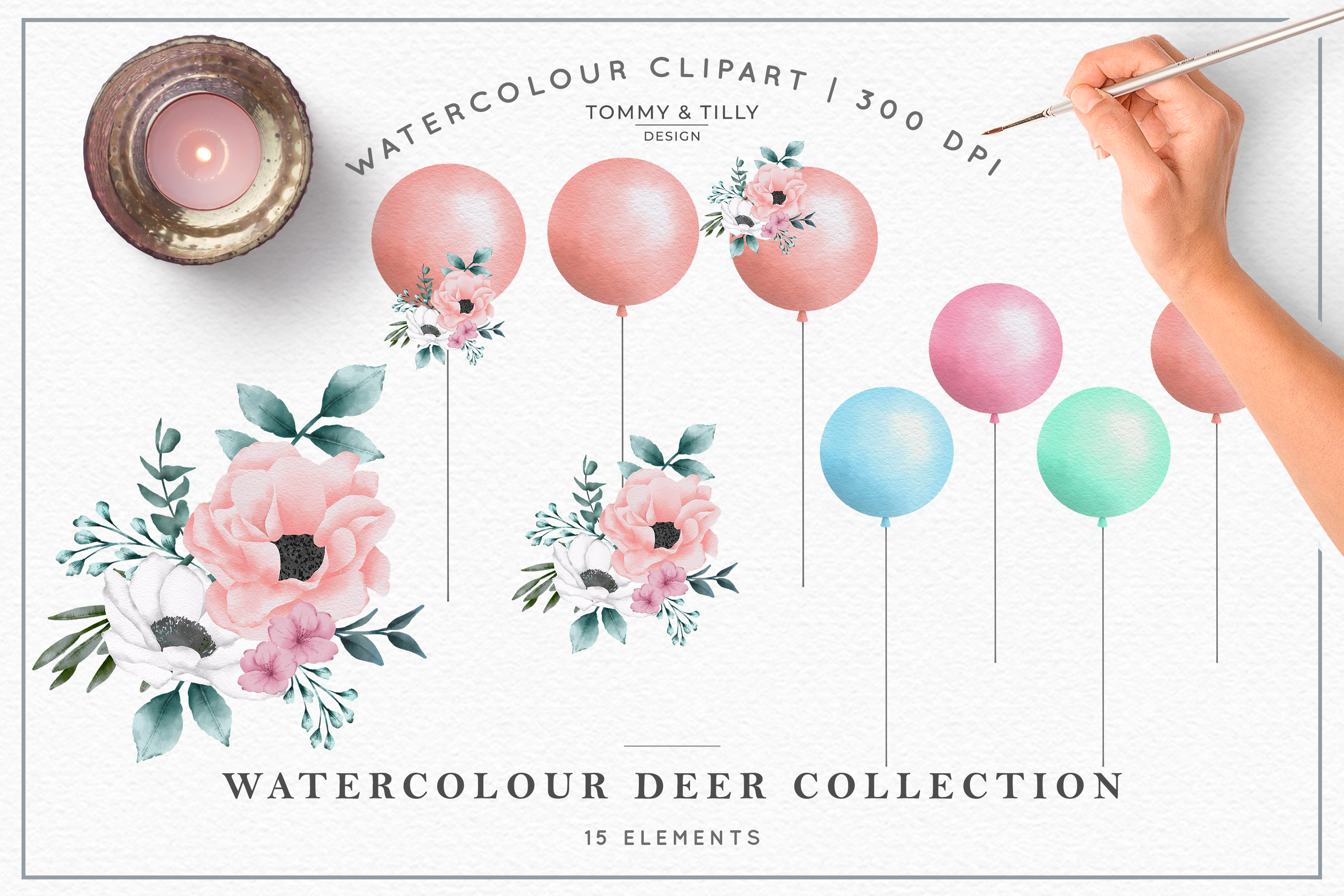 Watercolour Deer Collection - Wedding Baby Flower Clipart PN example image 3