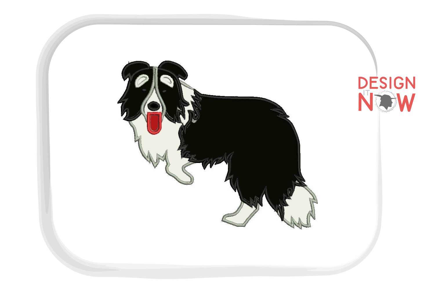 Dog Applique Embroidery Design, Border Collie Embroidery example image 2