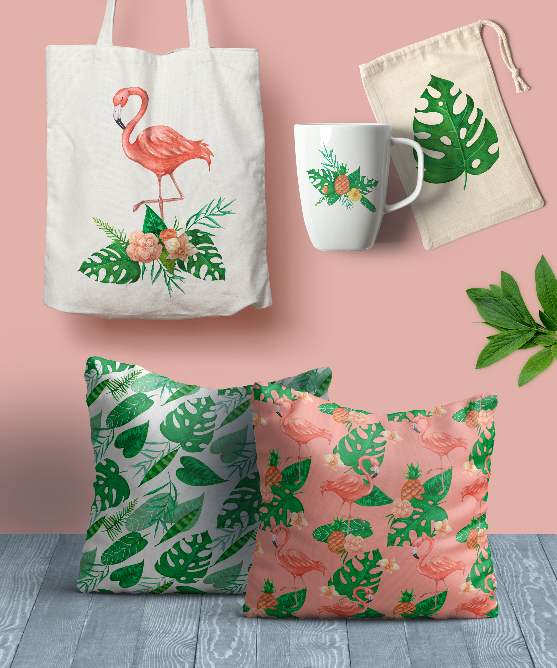 Tropical set of watercolor elements with flamingo example image 3