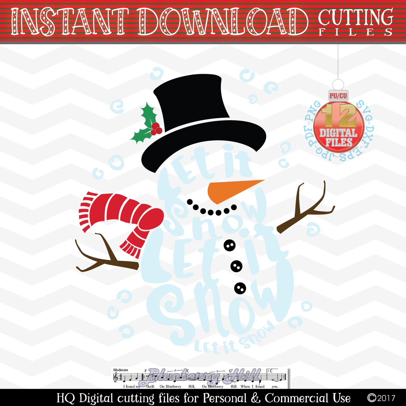 Snowman Svg - Let it snow Svg -2 in 1- Christmas SVG - Snow example image 1