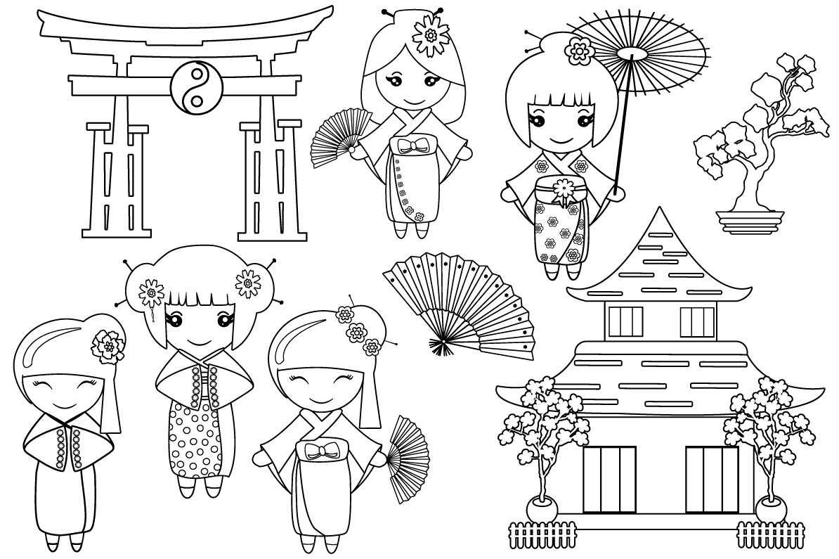Black White Outline Kokeshi Japanese Color Book SVG1274S example image 2