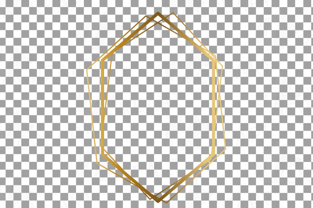 Elegant wedding geometric golden frames, lineal frames png example image 10