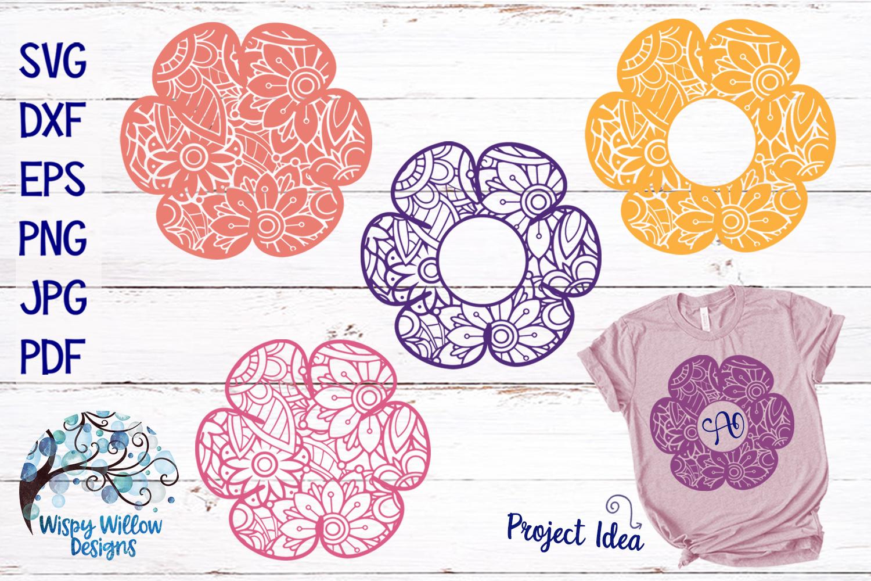 Flower Zentangle Mandala SVG Bundle example image 1