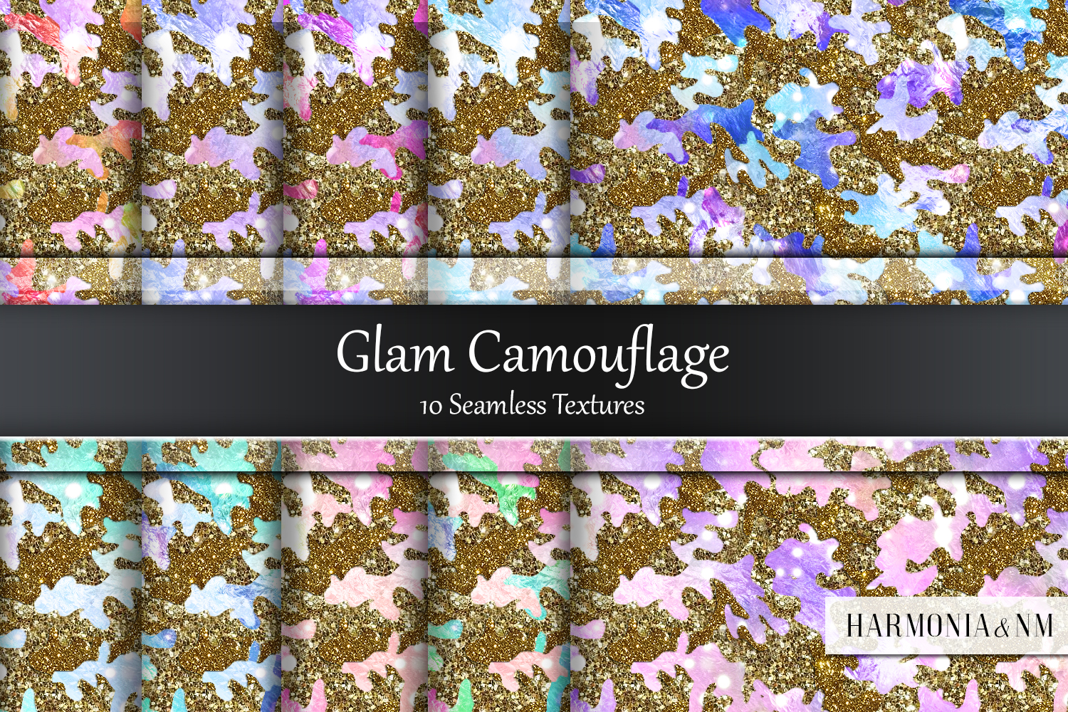 Glam Camouflage 10 Seamless Textures example image 1