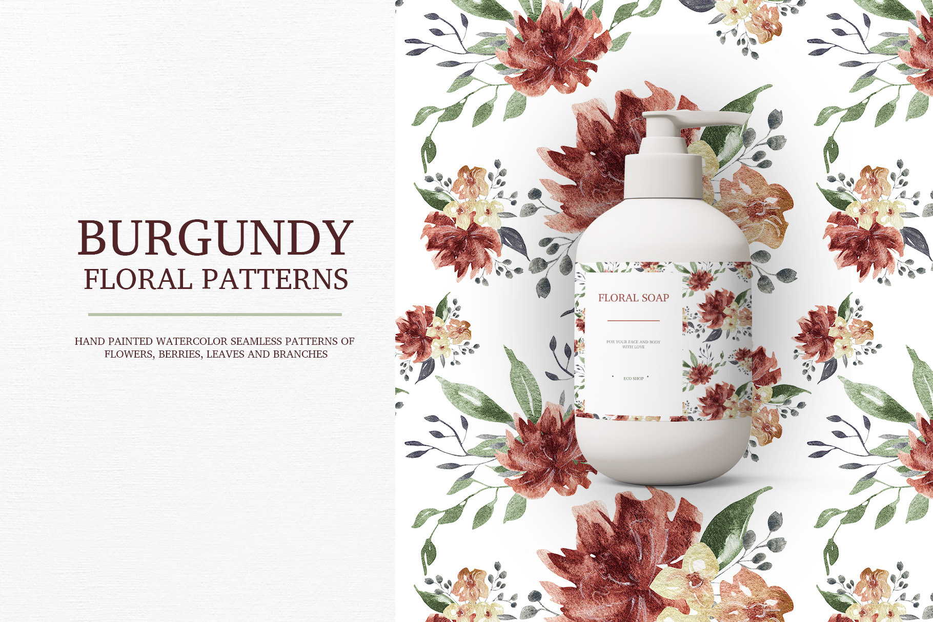 Burgundy floral seamless patterns, Seamless peony pattern example image 10