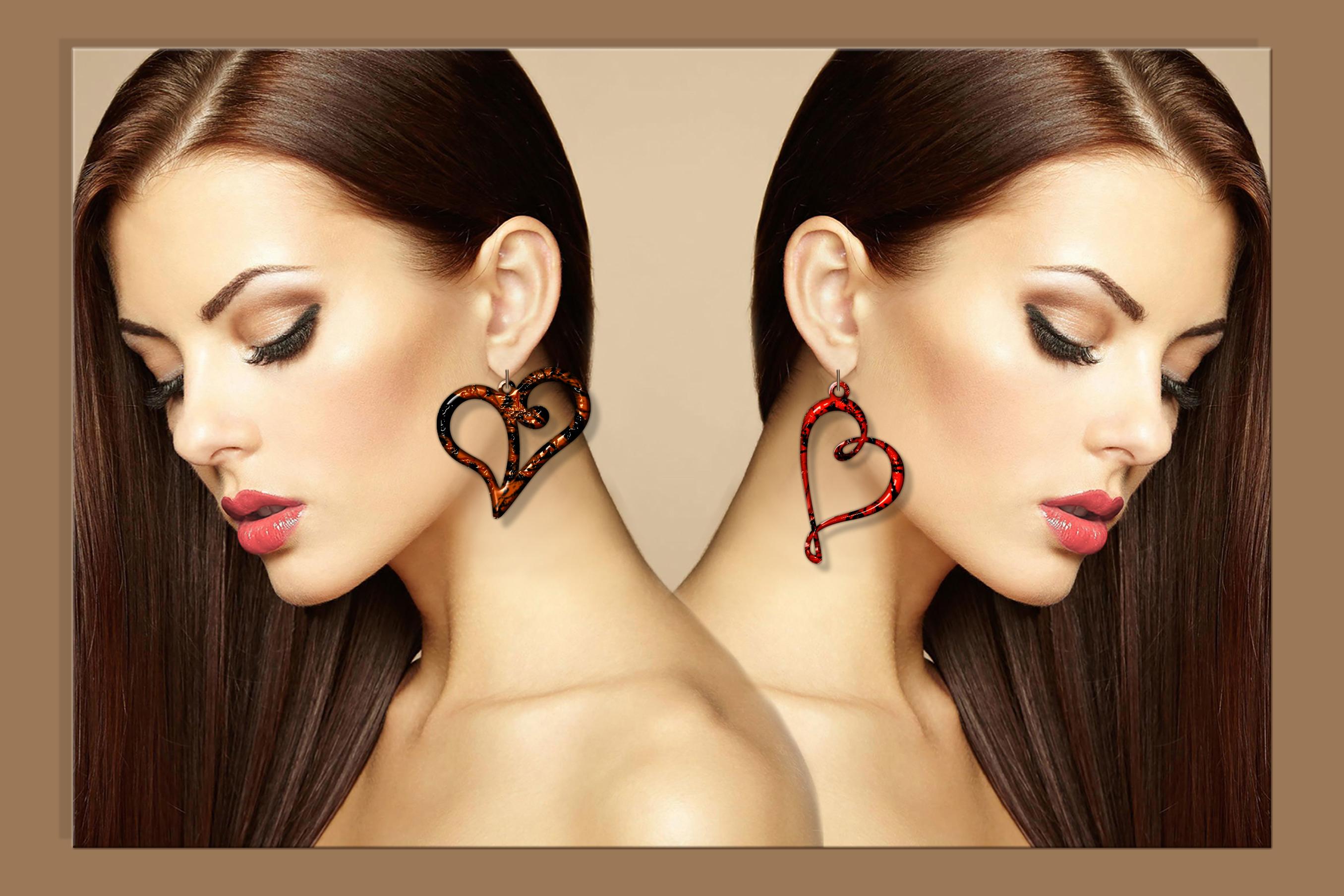50 Leather earring bundle svg Valentine Love svg Heart example image 11