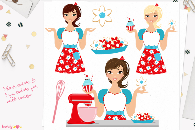 Woman baking character clip art L173 Piper example image 1