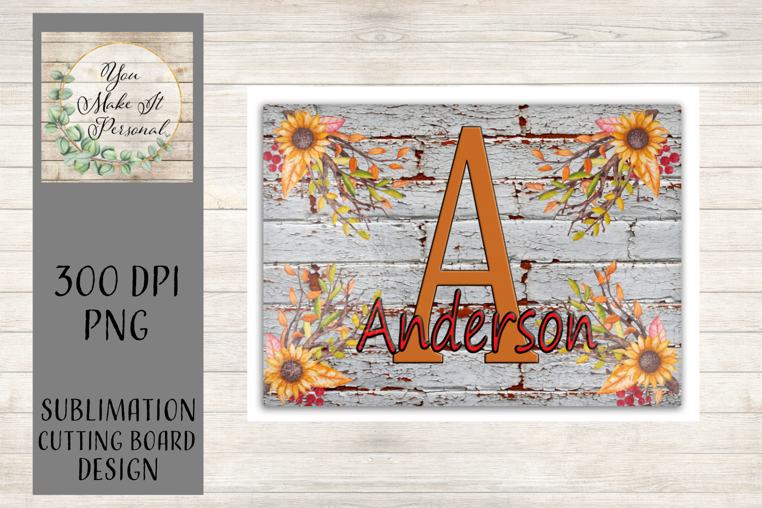 Sublimation Cutting Board Design / Fall Sunflowers example image 1