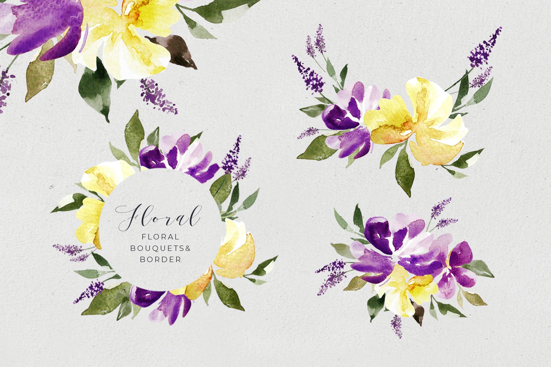Watercolor Purple Lavender Plum Floral Clipart example image 4