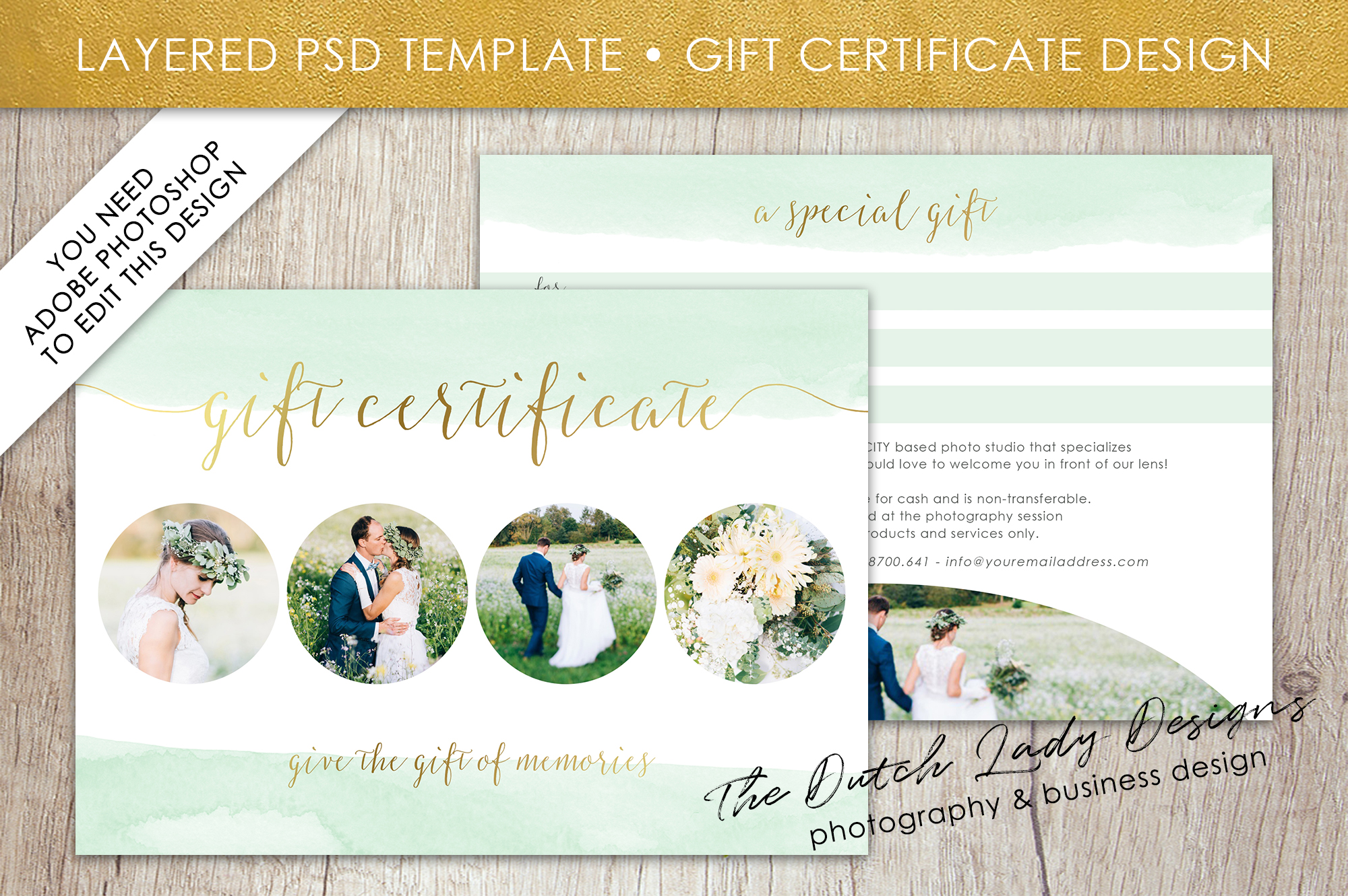 Photo Gift Card Template for Adobe Photoshop - #52 example image 1