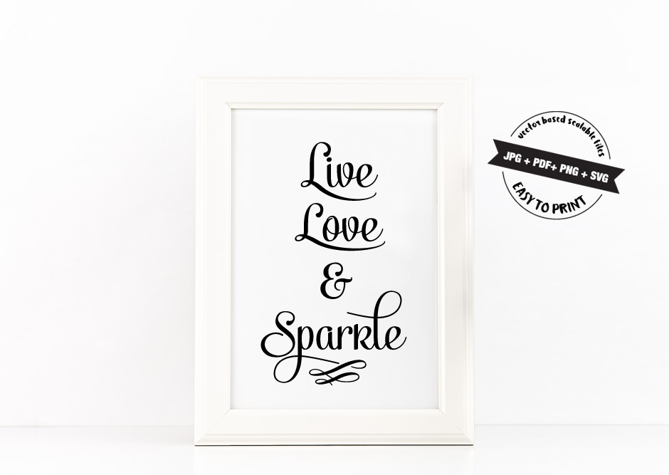 Live, Love and Sparkle Poster Inspirational Quote to Print in Black + SVG files example image 3