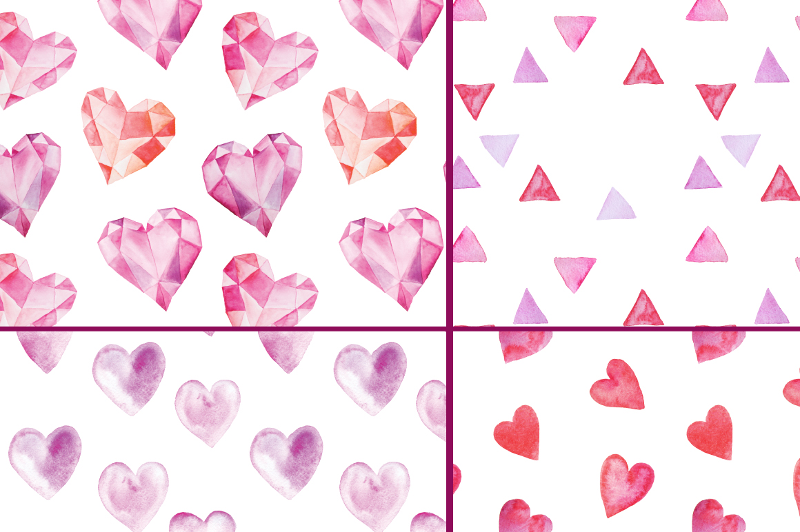 12 Watercolor Valentines Patterns example image 4
