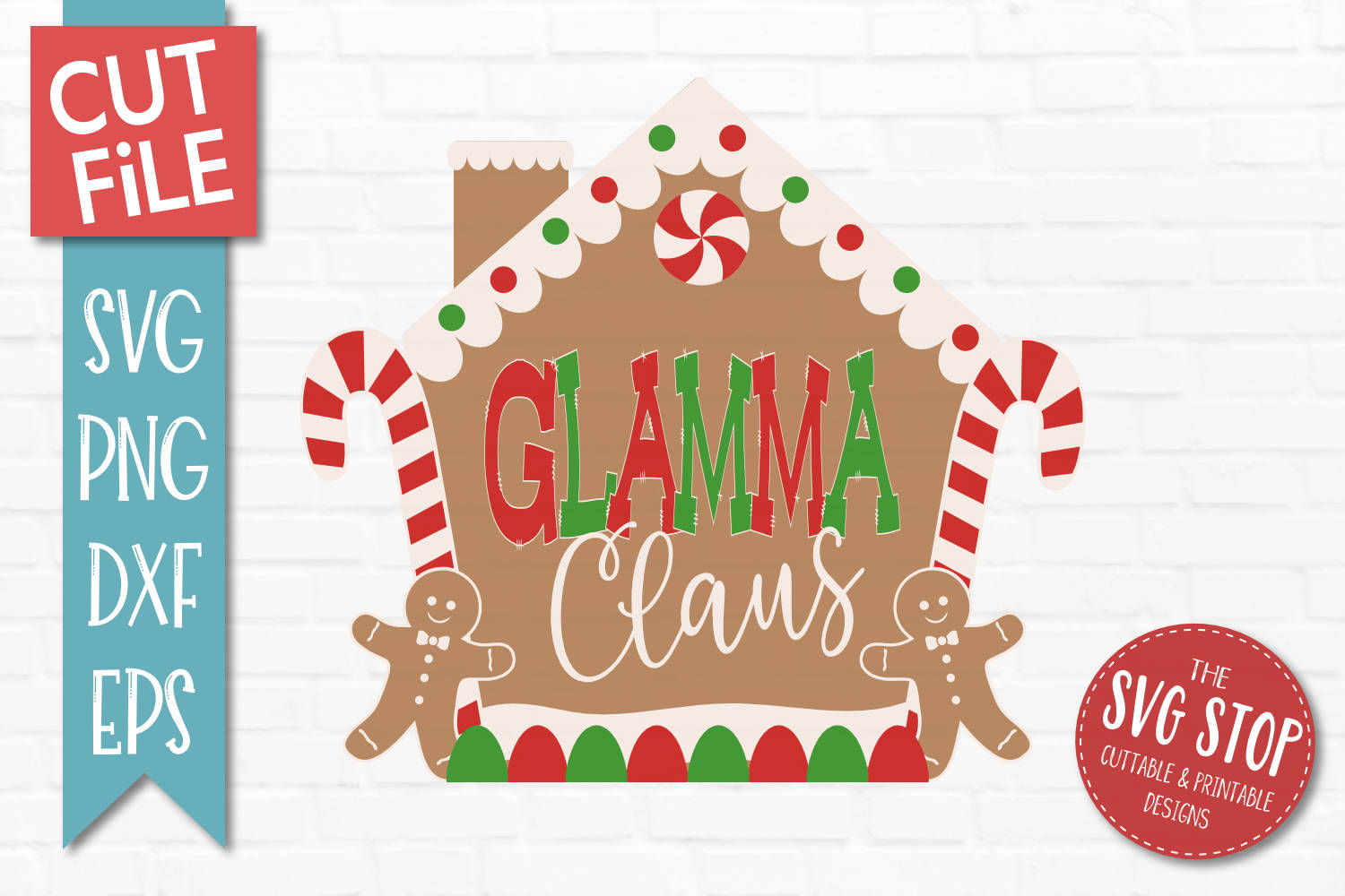 Glamma Claus Gingerbread Christmas SVG, PNG, DXF, EPS example image 1