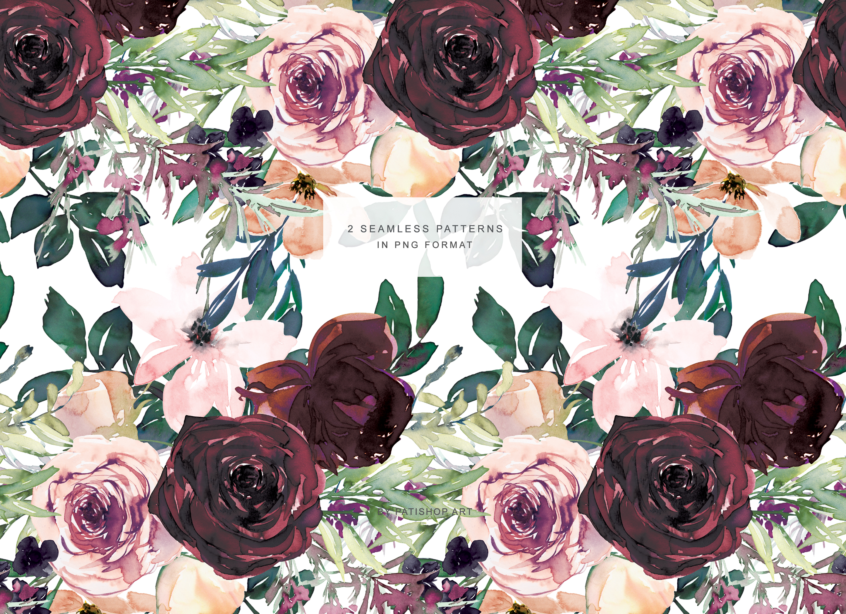 Wine and Peach Floral Bouquet Clipart example image 13