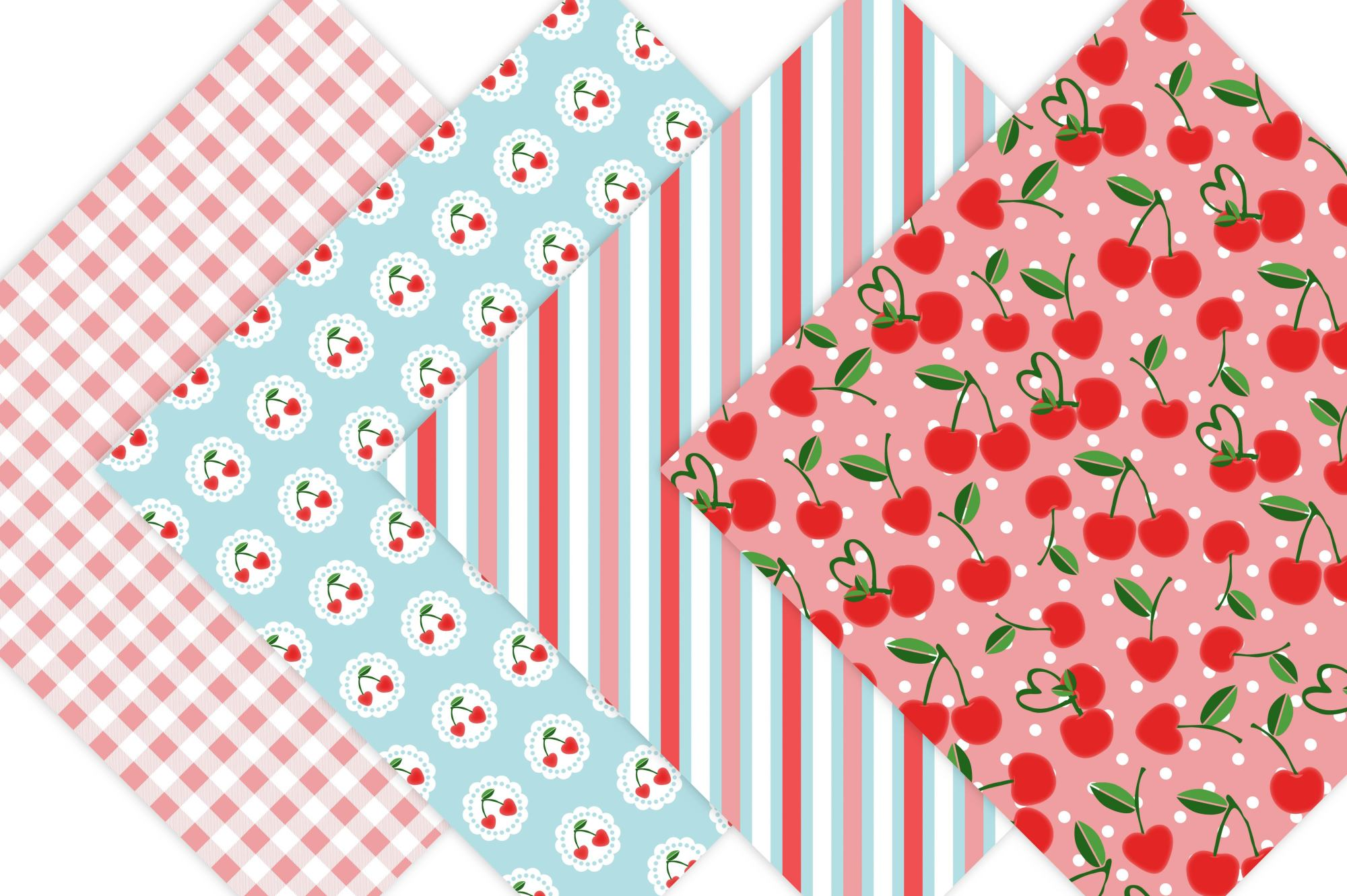 Cherry Digital Paper - Cottage Chic example image 4