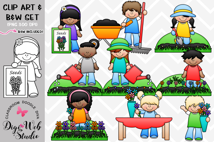 Clip Art / Illustrations - Planting Flowers example image 1