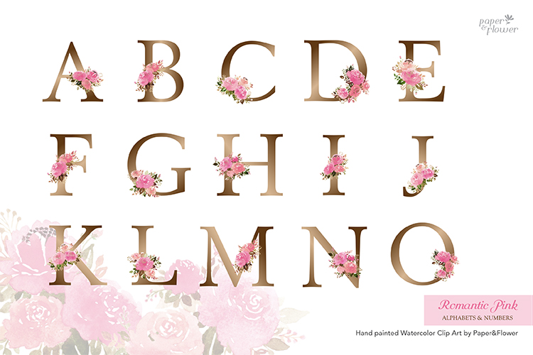 Pink Rose Floral Watercolor Alphabet Set example image 2
