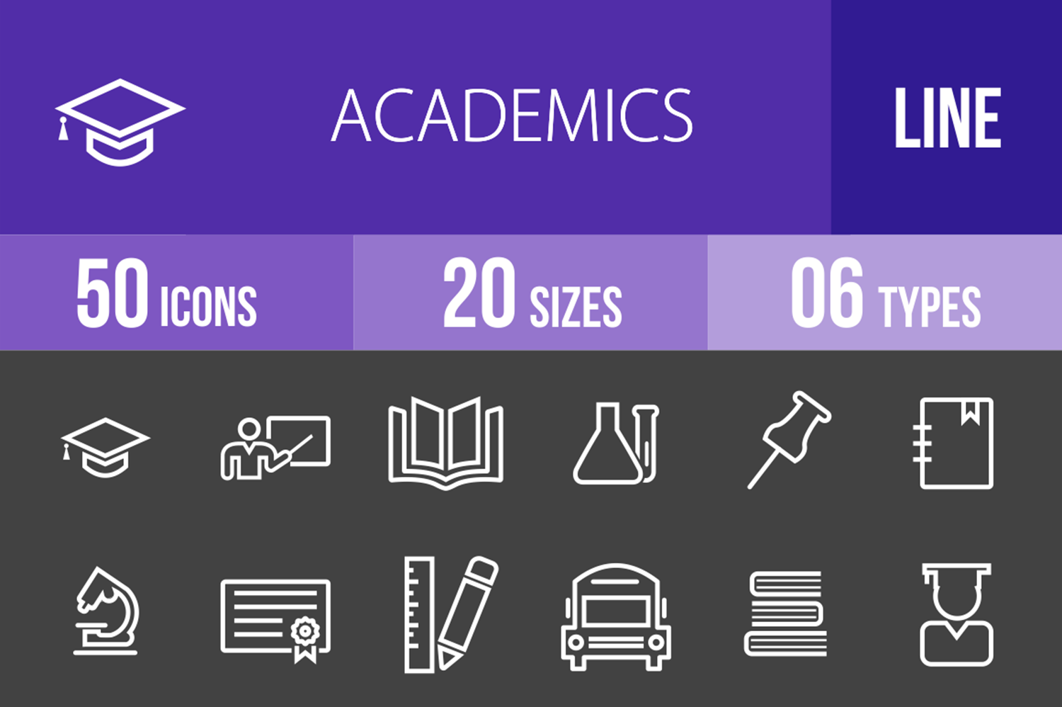 50 Academics Line Inverted Icons example image 1