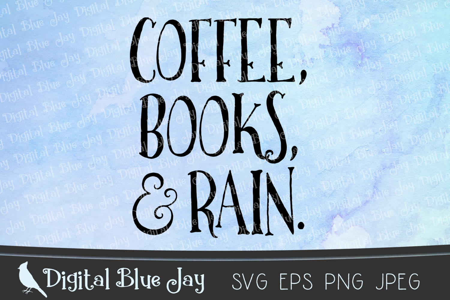 Coffee Books & Rain SVG PNG Cut Files example image 1