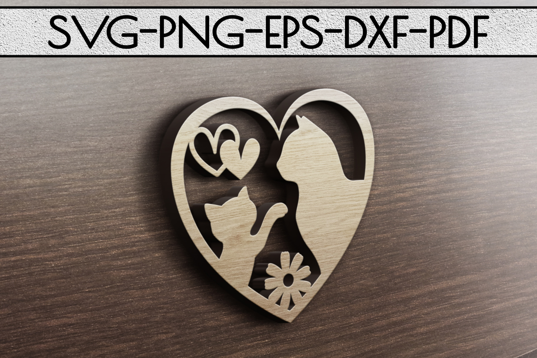 Cat Lover Sign Papercut Template, Cat House Decor, SVG, DXF example image 3