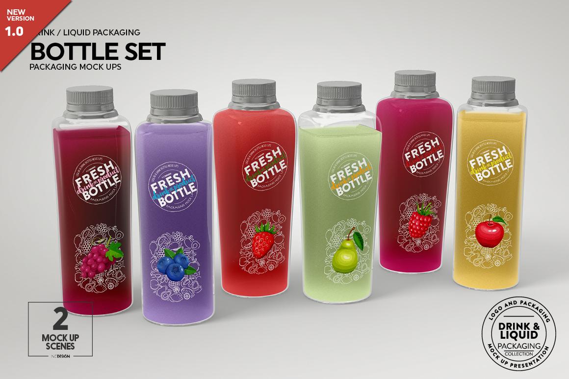 juice bottle set packaging mockup
