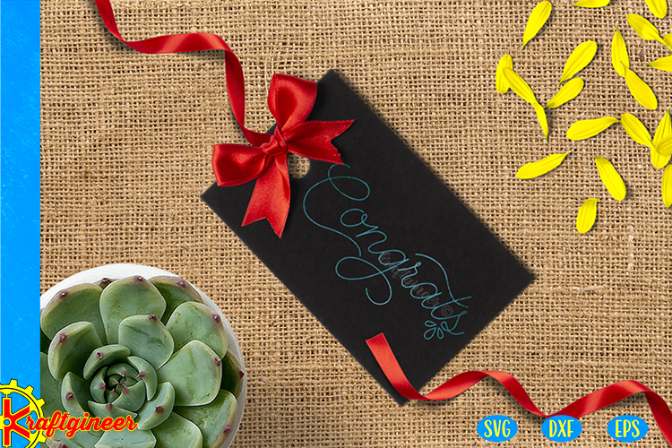 Single Line Congrats Card SVG | Single Line SVG |Foil Quill example image 2