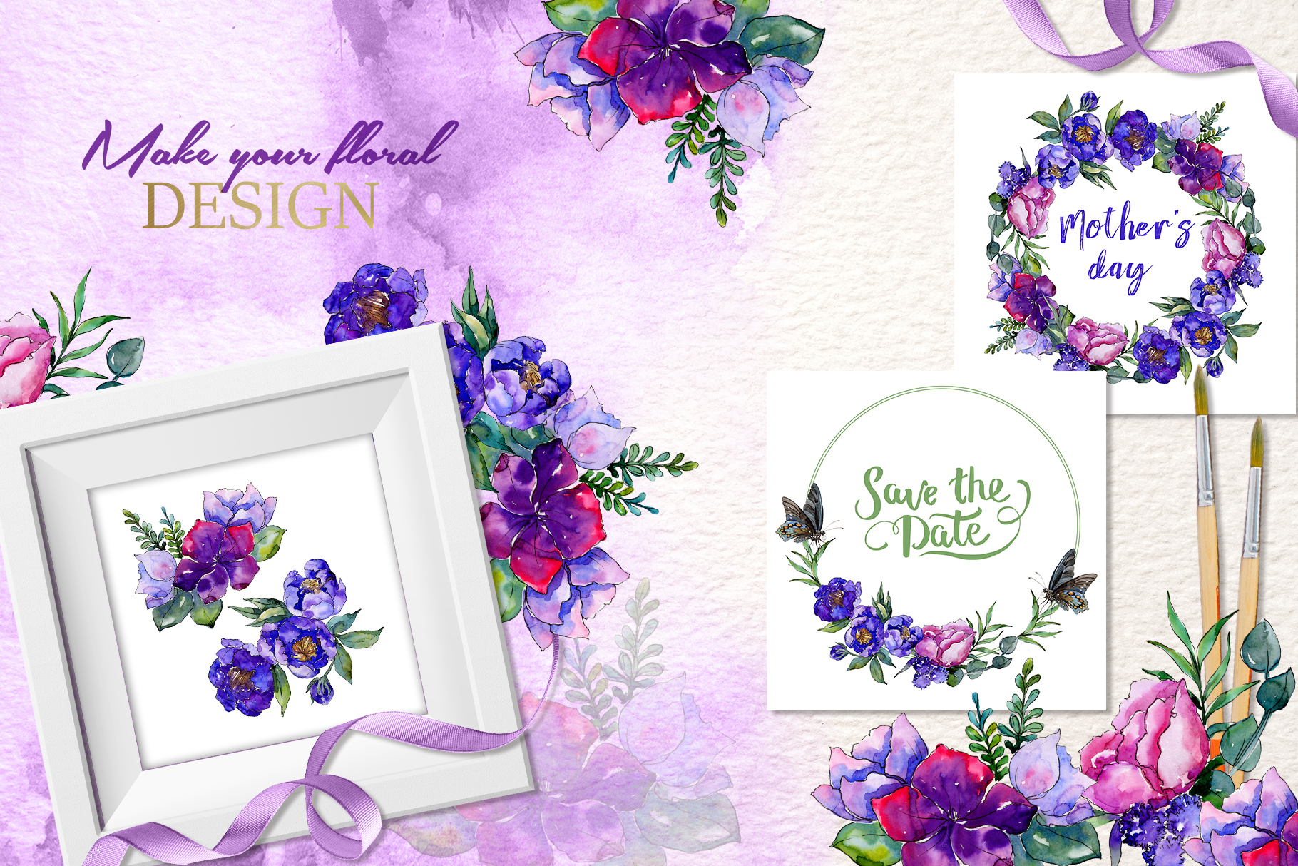 Bouquets of purple flowers Watercolor PNG example image 2