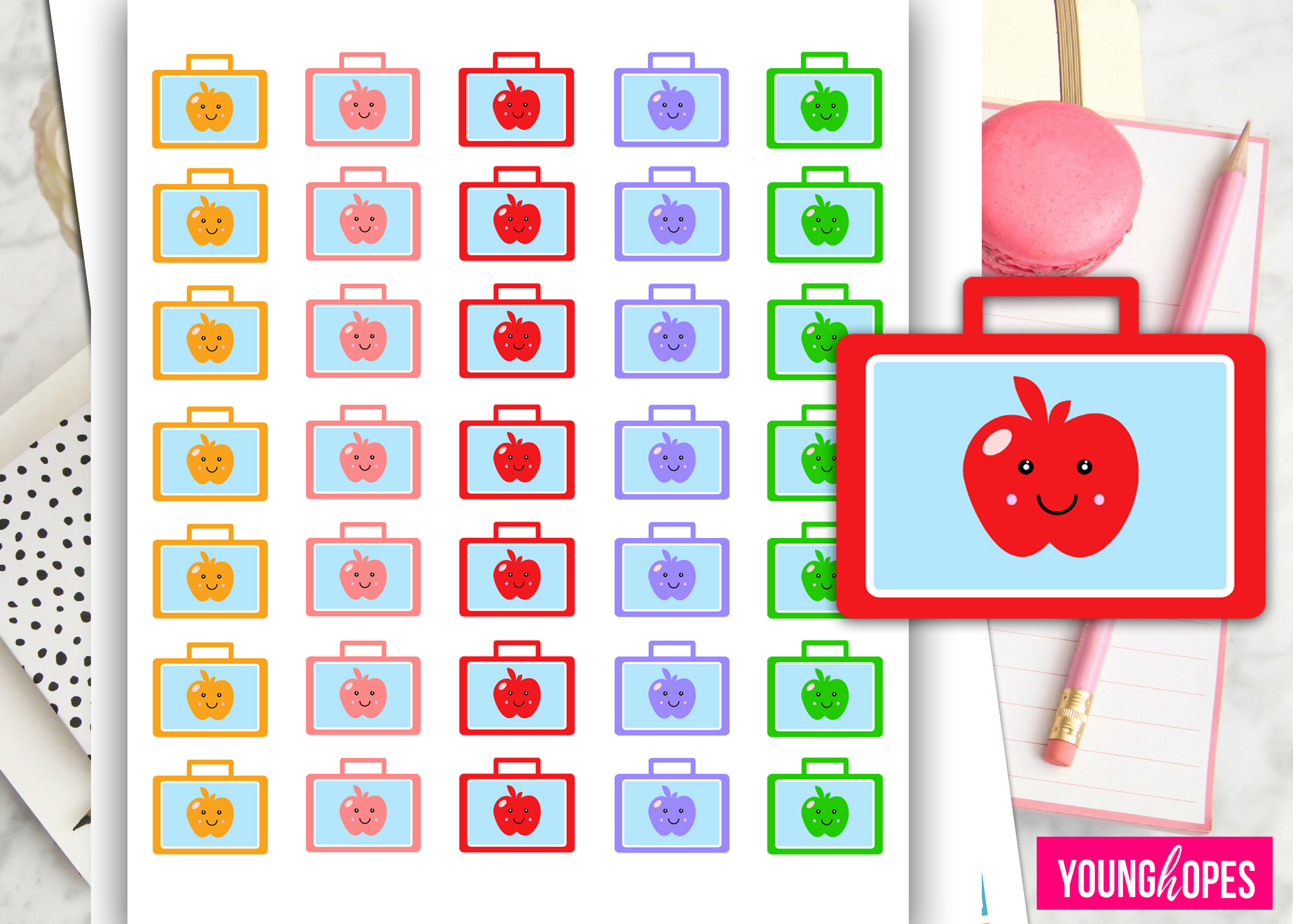 School Lunch Box Planner Stickers-School Bag Planner Sticker example image 2