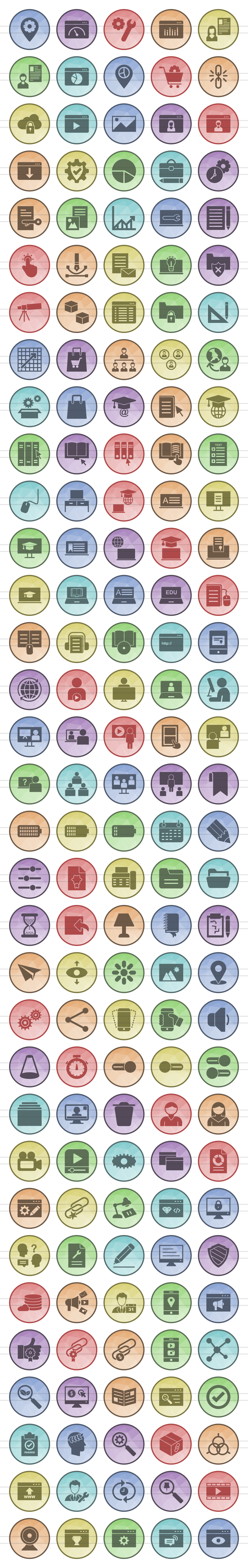 166 Web Filled Low Poly Icons example image 2