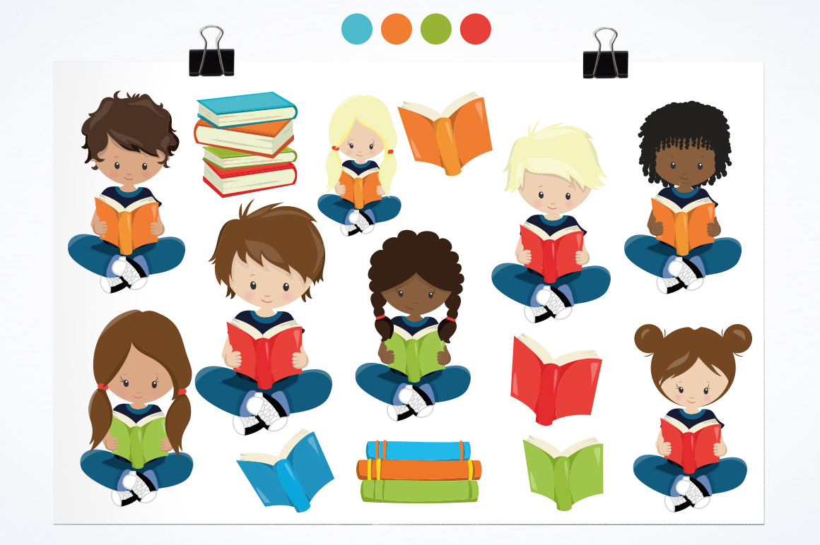 Reading Kids graphic and illustrations example image 2