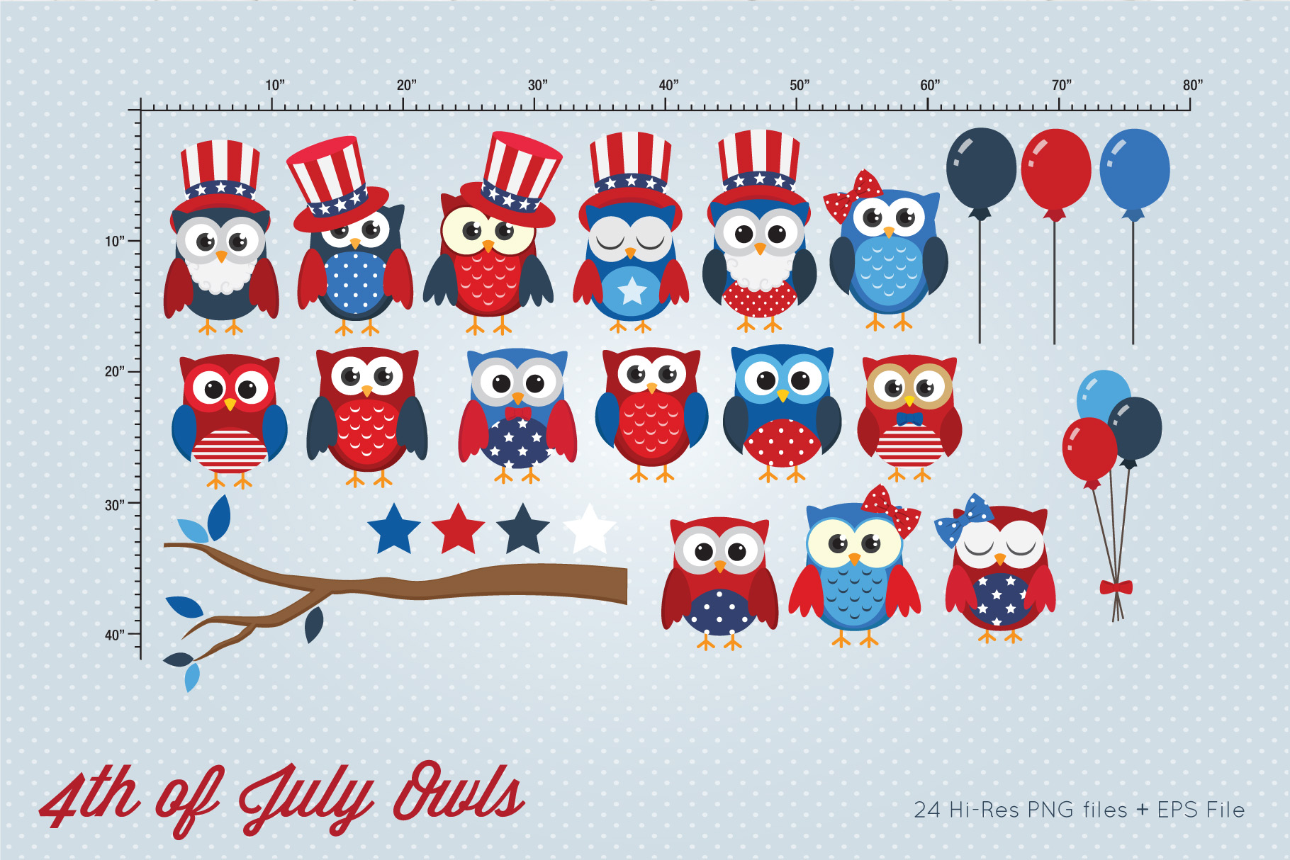 4th of July Owls Clipart example image 2