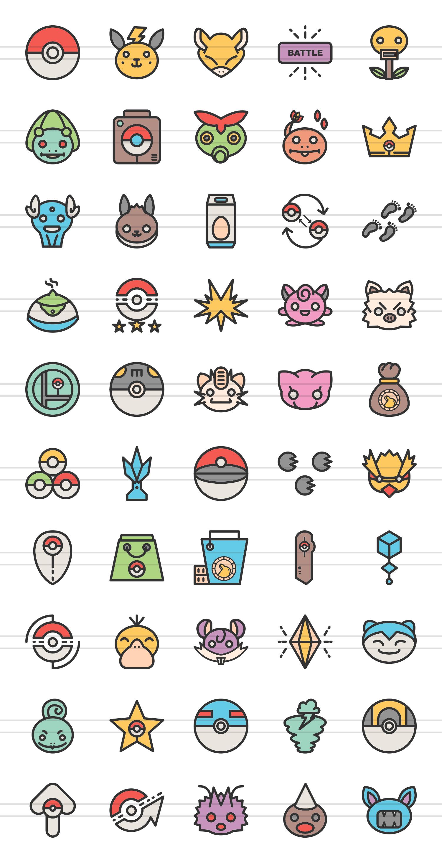50 Pokemon Go Linear Multicolor Icons example image 2