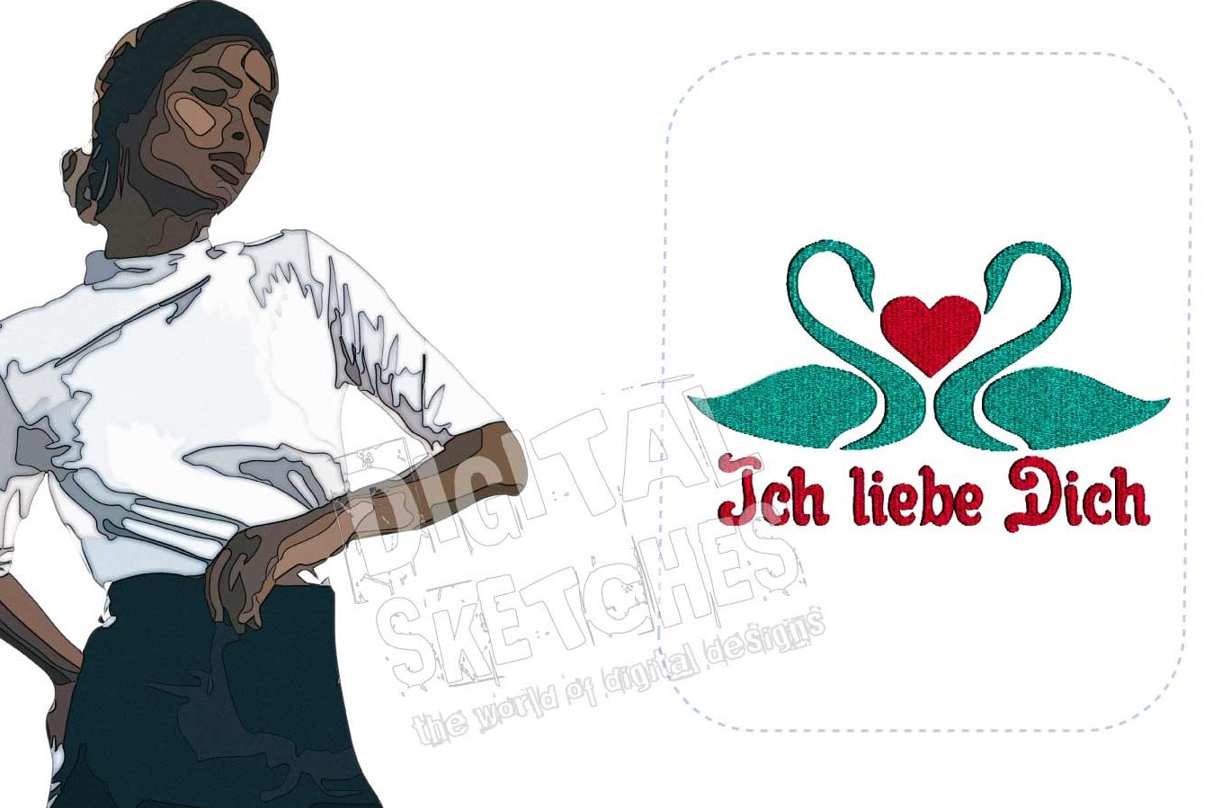 Ich Liebe Dich Swan Machine Embroidery Design 3 Sizes example image 2