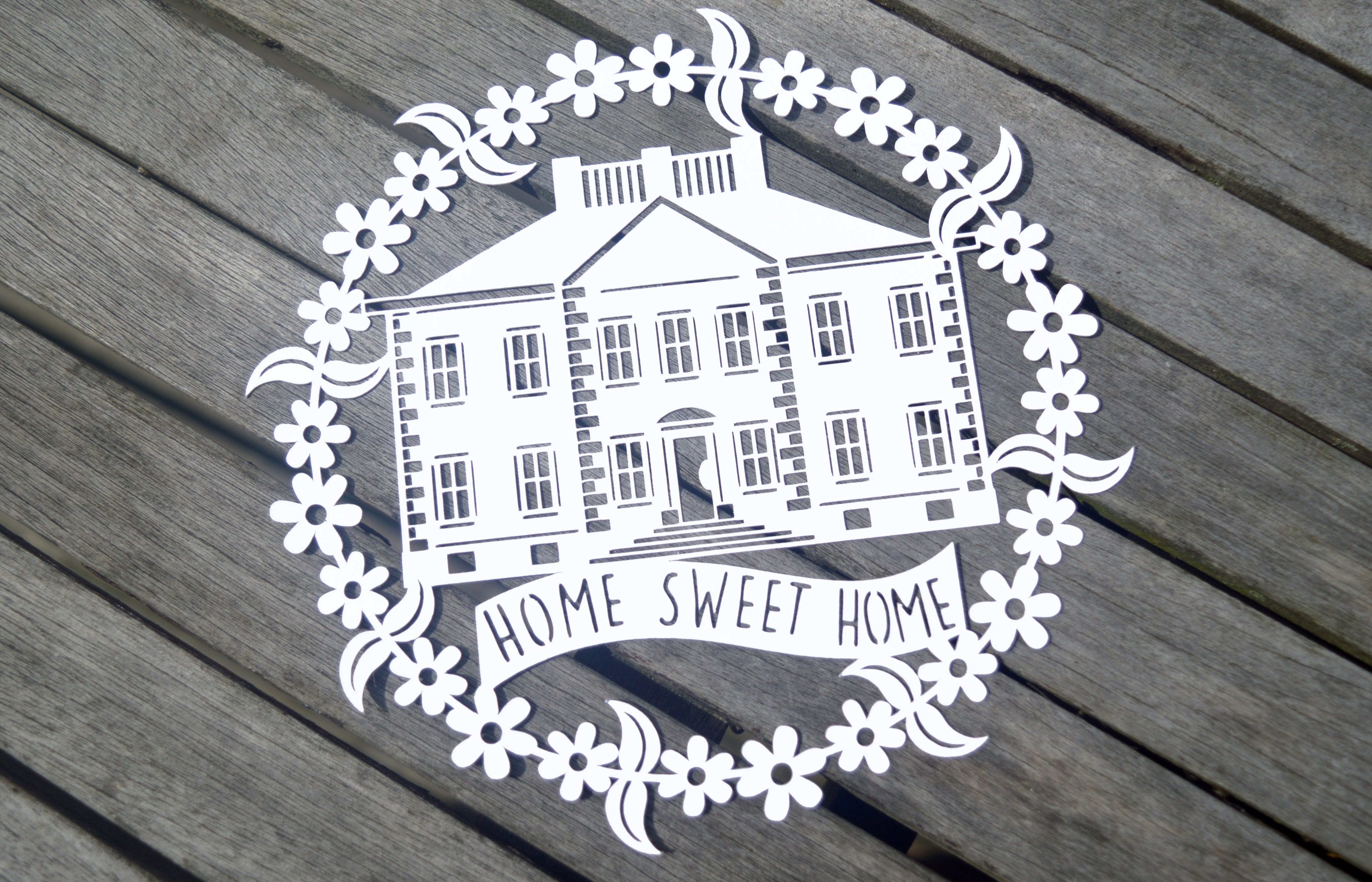Home Sweet Home Paper Cut SVG  DXF EPS Files example image 2