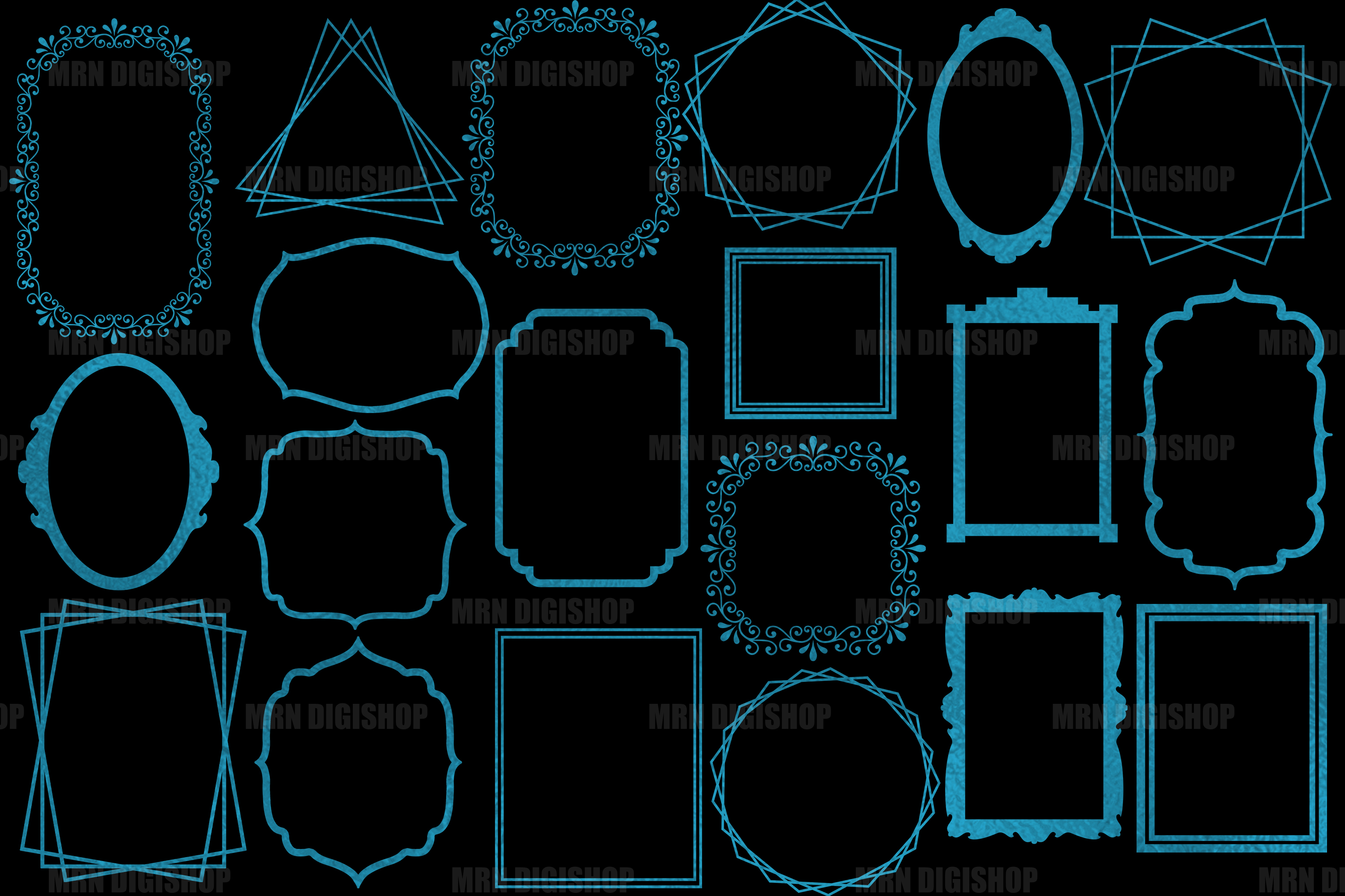 Teal Frames Clipart Set of 20 example image 2