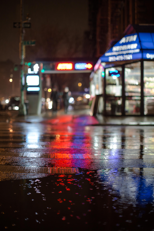 Blurred street light during rain  Blurred street ...