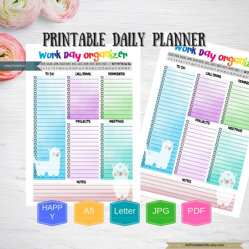 Llama daily Planner Printable Work day planner insert example image 2