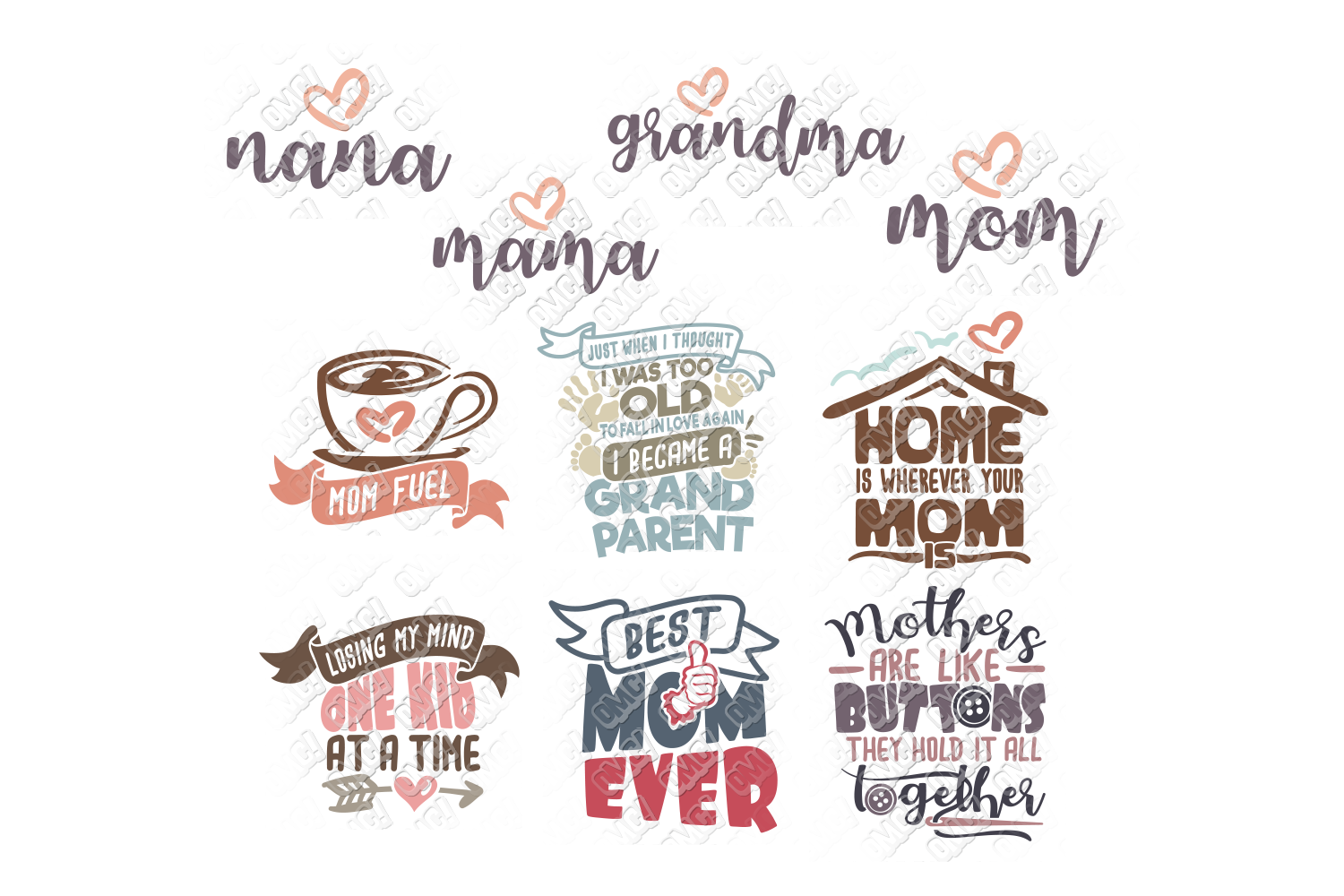 Mothers Day SVG Bundle Quotes in SVG, DXF, PNG, EPS, JPEG example image 3