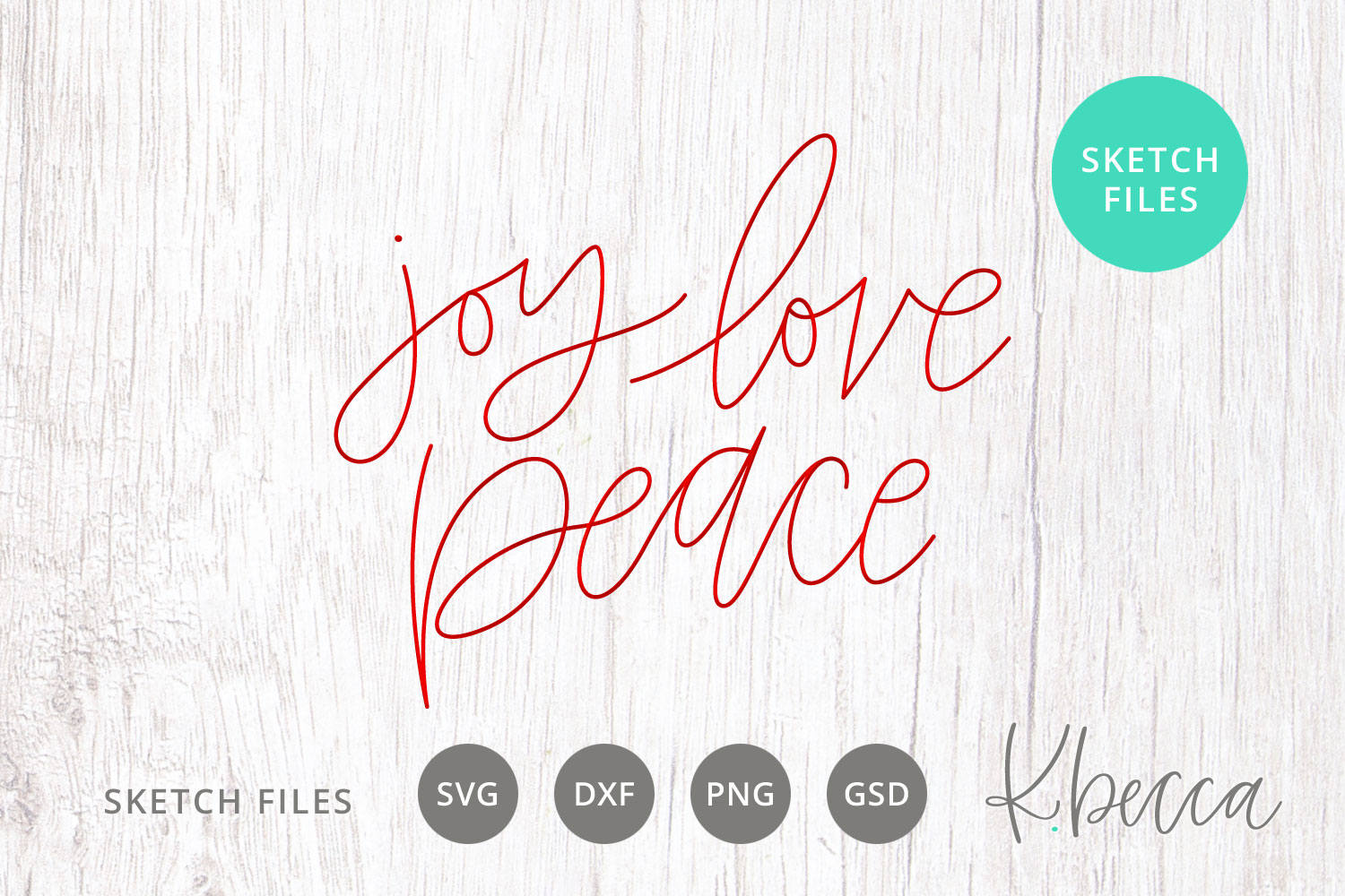 Foil Quill Sketch Joy Love Peace SVG example image 1