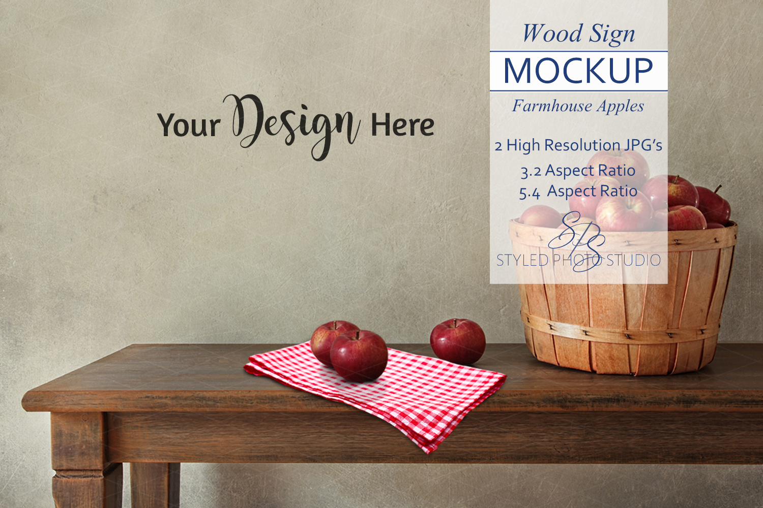 Farmhouse Blank Wall Mockup, Rustic Table Apples 3.2 example image 1