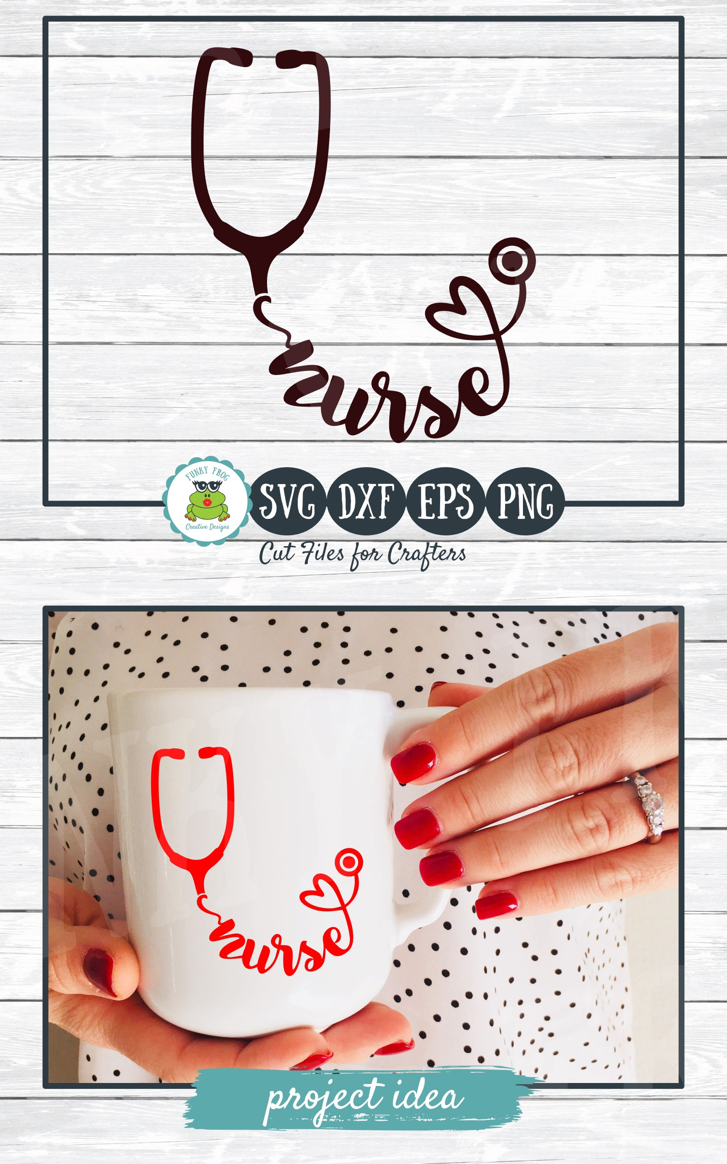 Nurse Stethoscope SVG Cut File for Crafters example image 4