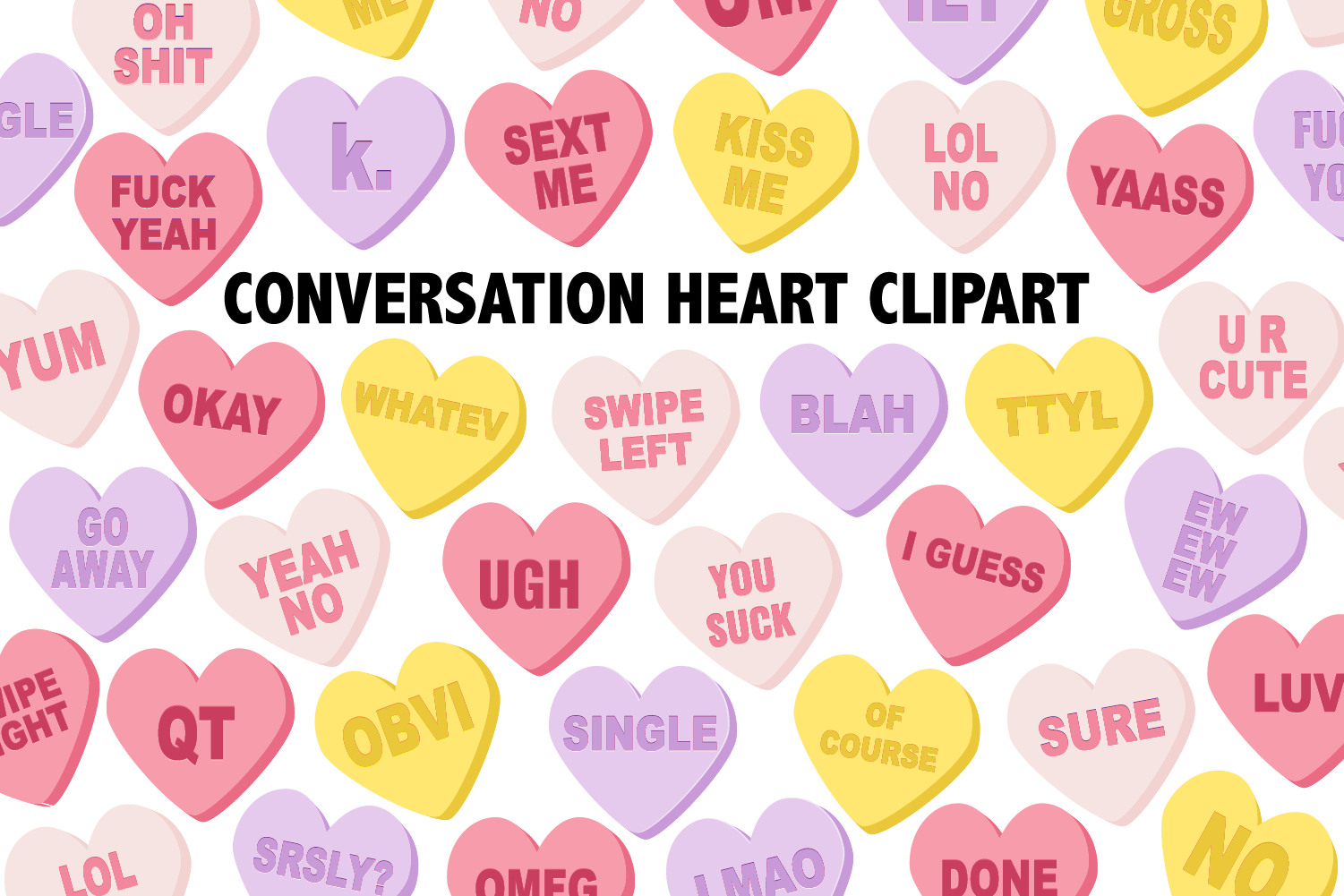 Conversation Candy Heart Clipart example image 2